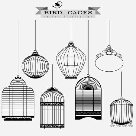 confined: Bird cages set,  birdcage isolated - vector illustration Illustration