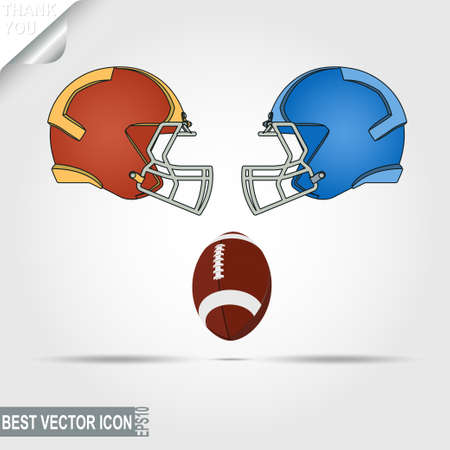 hardship: Football helmets and ball, teams facing each other, ready for the game start. Vector illustration