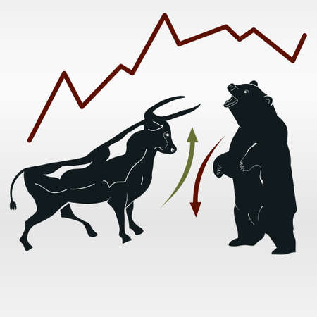 Bull and bear, market report, symbolic beasts of market trend with red and green arrows - vector