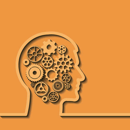 thinking of you: Gears in human head, idea, brain, silhouette. Thinking process, intelligence - future - memories -  problems. Vector illustration, you can simply change color