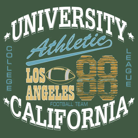 dept: Football T-shirt graphics, California Sport Typography, University Athletic Dept., Vintage Print for sportswear appare - vector illustration