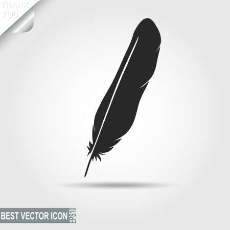poet: Black Bird feather icon, writing symbol - vector illustration