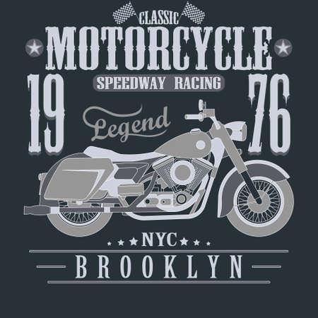 speedway: Motorcycle Racing Typography Graphics. Brooklyn Speedway Racing, New York. T-shirt Design, vector illustration