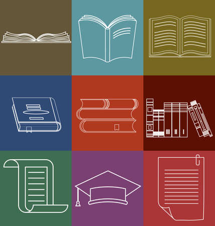 bookshop: Book Icons Set, Document and Paper signs, Book stack, Library, Bookstore - Vector illustration line design elements Illustration