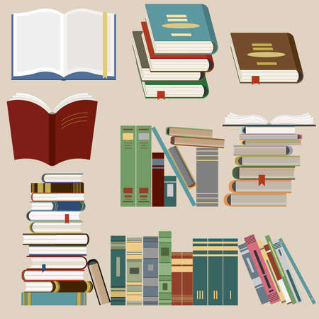 library book: Book Icons Set, Book stack, Library, Bookstore - Vector illustration, flat design style