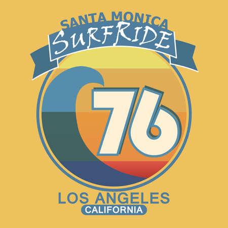 Surfing t-shirt graphic design. Santa Monica California surf typography, retro style emblem - vector illustration