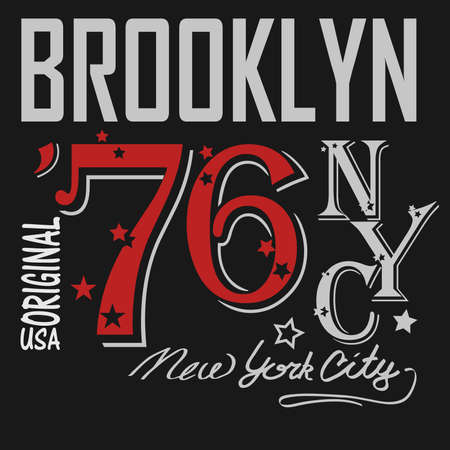 silhouette america: Brooklyn Typography Graphics Label. T-shirt Printing Design, New York original wear, Hand drawing silhouette, America, USA - vector illustration