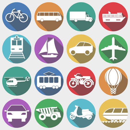cartoon wind: Icons Vehicles with Long Shadow, Transport, Transportation, Machine. Air and Land Transportation icons.