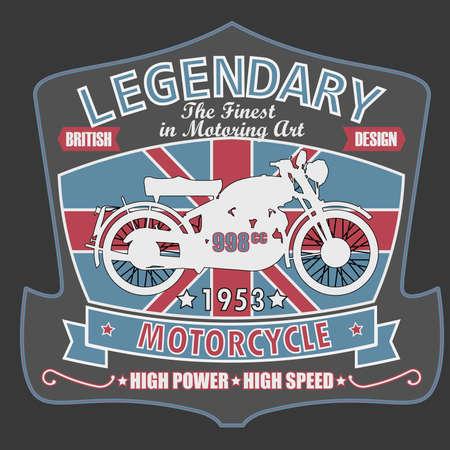 British Legendary Motorcycle Racing Tpography Graphics Label. T-shirt Design, vector illustration Illustration