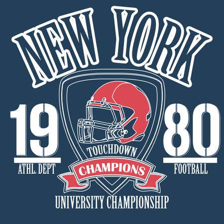 dept: New York Sport Typography, University Football Athletic Dept. T-shirt graphics, Vintage Print for sportswear apparel - vector illustration