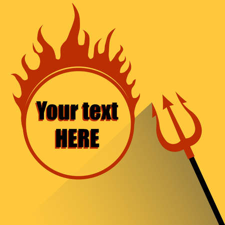 hell fire: Trident with a Hell fire on a yellow background - vector
