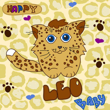 Cute Leo Baby. Little Baby Leopard child drawing by hand on a seamless spotted background, leopard texture, T-shirt typography - vector illustration Ilustração