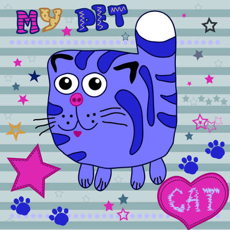 kitty cat: Cute Cat. Little kitty child drawing by hand on a striped background with heart and stars - vector illustration Illustration