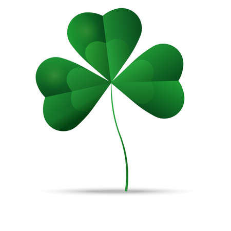 three leaf clover: Green shamrock, three leaf clover, well layered vector illustration