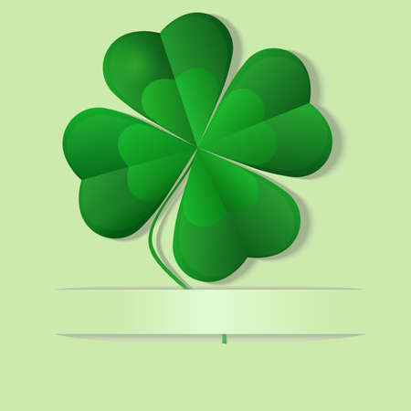 patric icon: Green shamrock, four leaf clover, well layered vector illustration