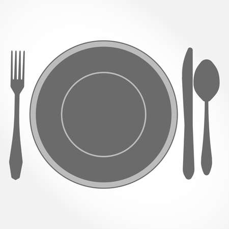 plate setting: Place Setting. Top view of Dinner Set - plate, knife, spoon and fork - vector illustration