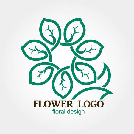 Flower Logo, Abstract, Geometric shape, Business symbol. Creative infinity loop design. Green leaves loop. Vector template concept
