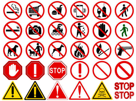 Set of  Signs for Different Prohibited Activities. No - signs, No smoking, No drinking, No photographing, No dogs, No walk and other. Vector illustration - you can simply change color and size Vettoriali