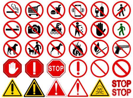 Macchina fotografica: Serie di indicazioni per diverse Attività vietate. No - segni, non fumare, non bere, non fotografare, vietato ai cani, non è una passeggiata e altri. Vector illustration - si può semplicemente cambiare il colore e dimensione