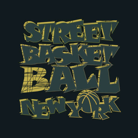 Basketball t-shirt graphic design. New York City streetball typography emblem,  Print for sportswear apparel - vector illustration