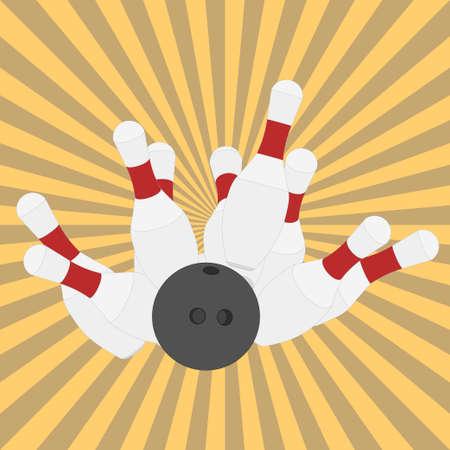 ten pin bowling: Bowling ball knocks down pins, strike, retro style, flat design - vectors