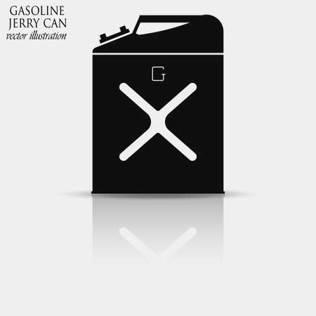 jerry: Gasoline jerry can icon with reflection, 5 gallon canister - vector illustration Illustration