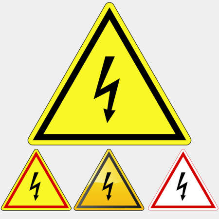 hazardous area sign: S�mbolo Peligro Alta Tensi�n, Peligro Peligro el�ctrico, amarillo tri�ngulo de la muerte - ilustraci�n vectorial
