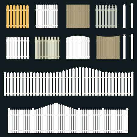 Set of fence, palisade, enclosure,  white gate - vector illustration Vettoriali