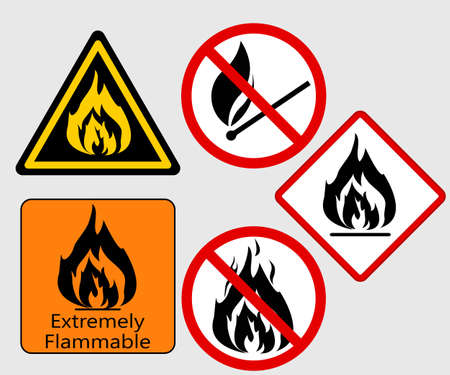 flammable warning: Extremely Flammable, Burning Fire sing, Bonfire Flame,  prohibited, warning vector symbol set Illustration