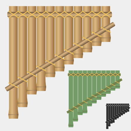 flute instrument: Pan flute, bamboo flute, pan pipes, wind musical instrument - vectors