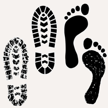 Footprint, shoes print, footprint of dirty boot - vector illustration Çizim