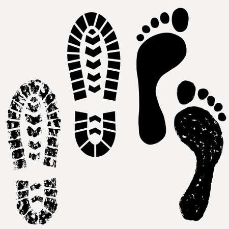 huellas pies: Huella, zapatos de impresi�n, la huella de la bota sucia - ilustraci�n vectorial