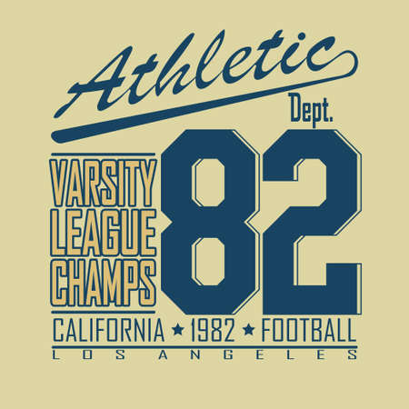 dept: California Sport Typography, Varsity Football Athletic Dept. T-shirt fashion design graphics, Vintage Print for sportswear apparel - vector illustration