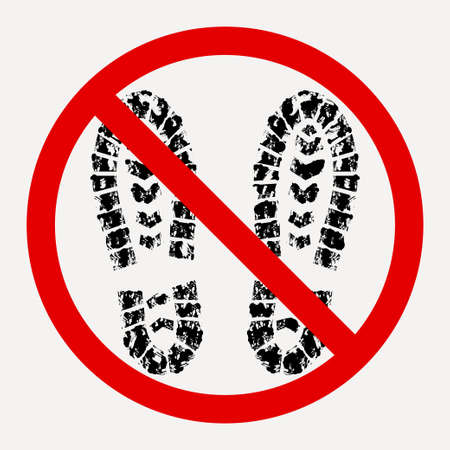 dirty shoes are prohibited, footprint of dirty boot - vector  イラスト・ベクター素材