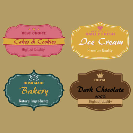 cookies and cream: Set of  labels for cakes, cookies,  ice cream, bakery chocolate. Badge, emblem - vector