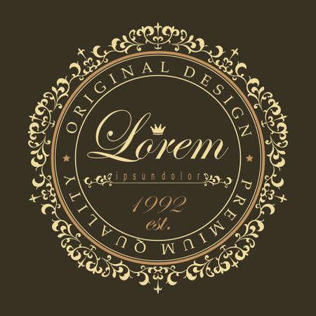 logo element: luxury round ornament, floral design logo, Golden  decorative template, heraldic emblem, business graphics, fashion sign - vector element Illustration