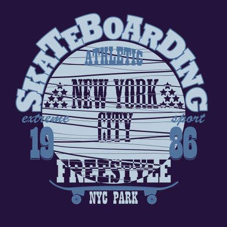 skate board: Skateboarding t-shirt graphic design. Freestyle New York City Skate Board typography emblem - vector illustration Illustration