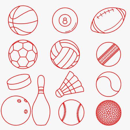 balones deportivos: Bolas del deporte, conjunto de iconos de líneas finas de color rojo en diseño plano - ilustración del vector Vectores
