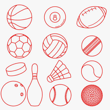 sport balls: Sport balls, Set of red thin line icons in flat design -  vector illustration