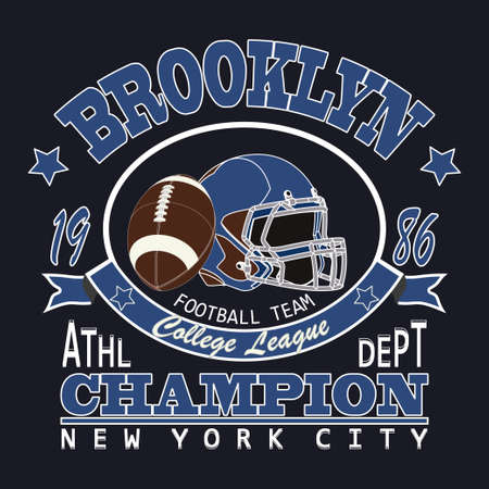 brooklyn: Sport Typography Brooklyn New York, Football - vector Illustration