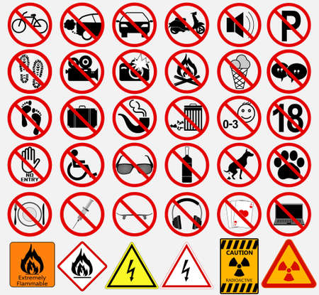 señales de seguridad: Conjunto de muestras para diferentes actividades prohibidas. -no- signos. ilustración vectorial