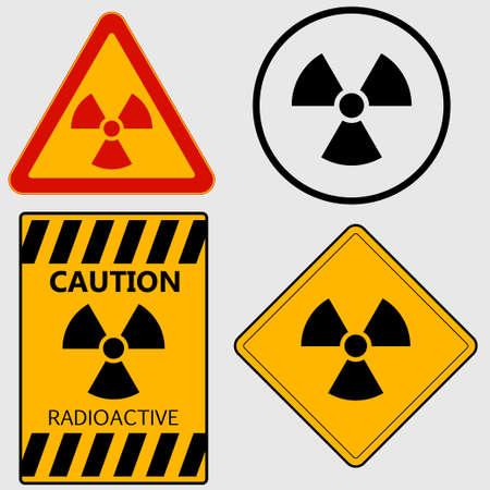 radiactividad: Muestra de la radiactividad, precauci�n radiactivo, peligro nuclear, advirtiendo set signo - vectores
