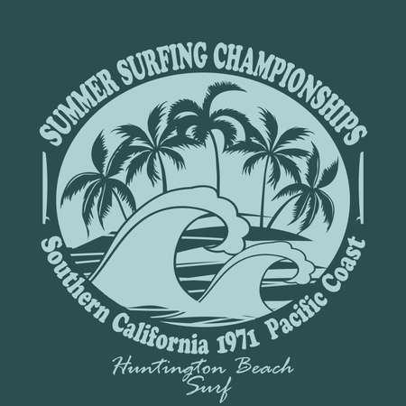 california coast: Surfing t-shirt graphic design. Huntington Beach world surfing championship. Pacific Coast California, Surfboard - surfers wear typography emblem, Palm trees on the Beach. Silhouette. Creative design. Vector template concept