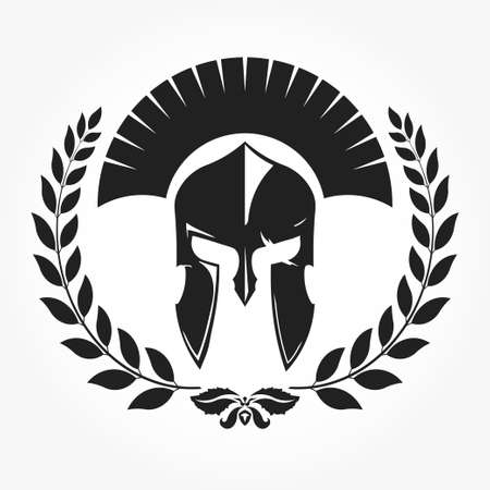 Warrior, gladiator, knight icon with laurel wreath -  vector
