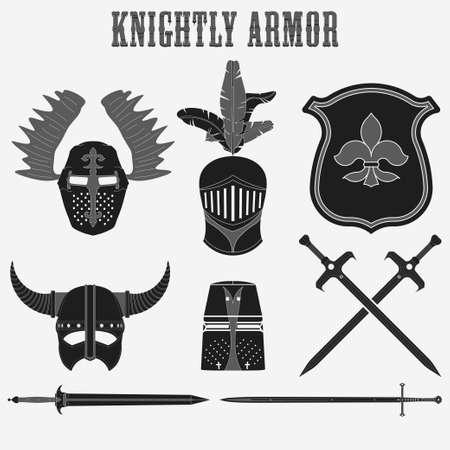 cavaliere medievale: Knightly armatura - Casco - Spada - Scudo - Guerriero insieme vettoriale Vettoriali