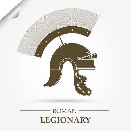 legionary: Roman Legionary Helmet, Warrior logo, Gladiator icon, heroic soldier - vector