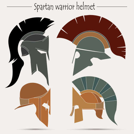 ancient civilization: Spartan Helmet, Greek warrior, Gladiator,  legionnaire heroic soldier - vector