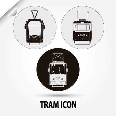 tramcar: Tram icon, city transport,  silhouette - vector illustration
