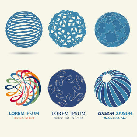 business logo set, blue sphere, swirl symbol, spiral ball template - vector illustration