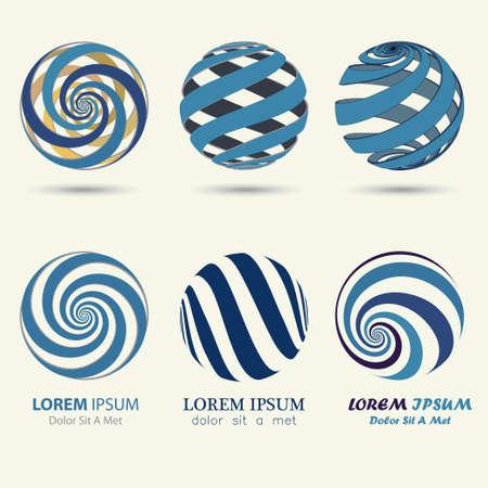 blue sphere: business logo, blue sphere, swirl symbol, spiral ball template - vector illustration